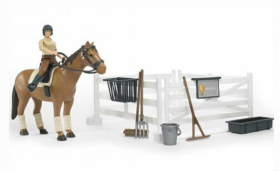 Bruder 62500 Bworld Ohrada, kůň a figurka