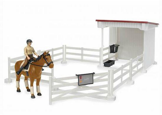 Bruder 62521 ohrada bílá, stáj, kůň a figurka jezdkyně