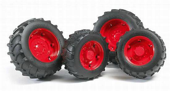 Bruder 2322 náhradní kola pro traktory řady 2000 - červená (pro traktory Fendt řady 2000)