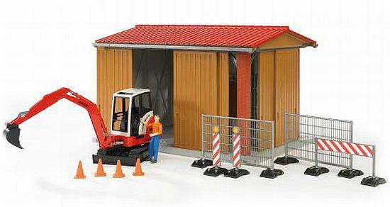 BRUDER 62020 Bworld Garáž, zábrany, stroj 02432, figurka