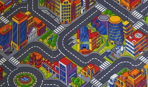 Dětský metrážový koberec BIG CITY 97 š.4m (silnice, město)