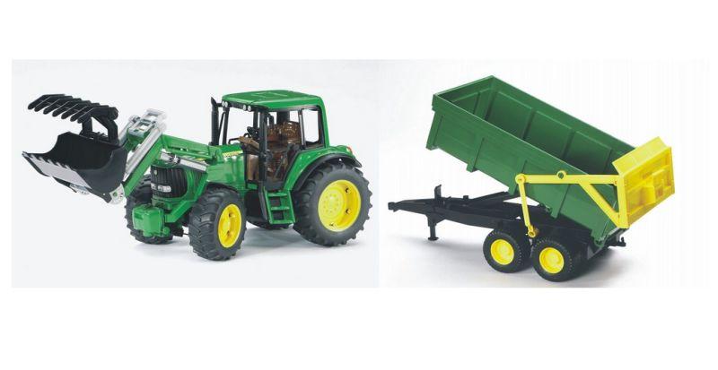 Bruder 1134 Traktor John Deere 6920 s čelním nakladačem a vlekem (limitovaná edice)