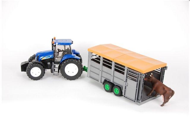 Bruder 1695 Traktor New Holland T8040 s přívěsem na přepravu dobytka a figurkou (limitovaná edice)