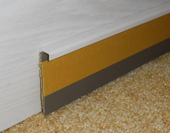 Kobercová lišta 50mm hladká bílá oboustranně lepicí