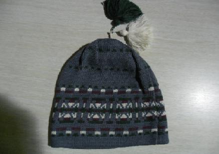 Dětská zimní čepice modrá se vzorem