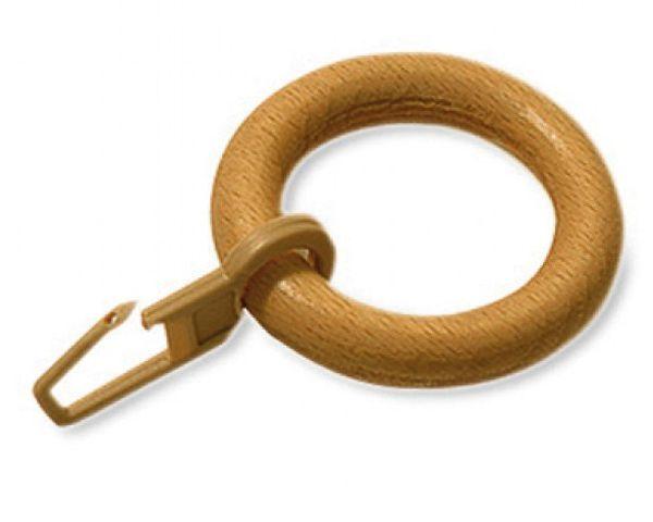 Gardinia kroužky s UH háčky dřevo buk 10ks