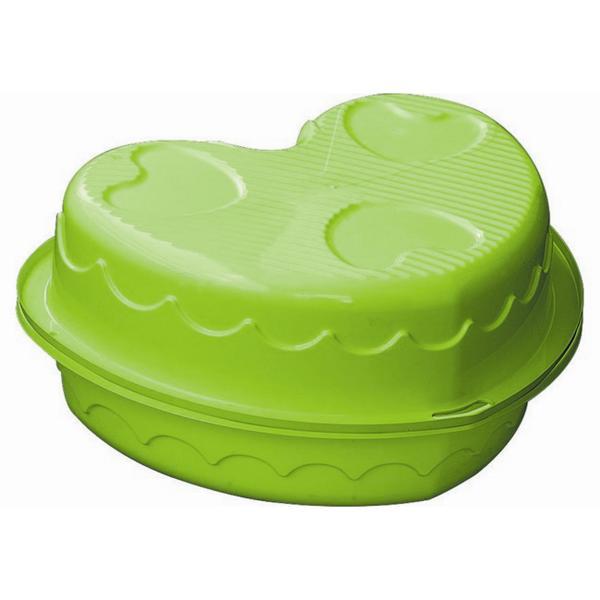 Pískoviště/ bazének Marian Plast dvojité srdce s poklopem 90x79cm, zelené