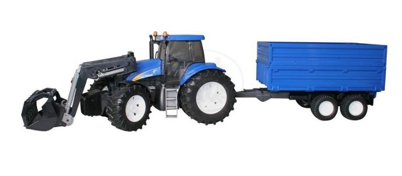Bruder 1993 Traktor New Holland T8040 s vlekem a čelním nakladačem (limitovaná edice)