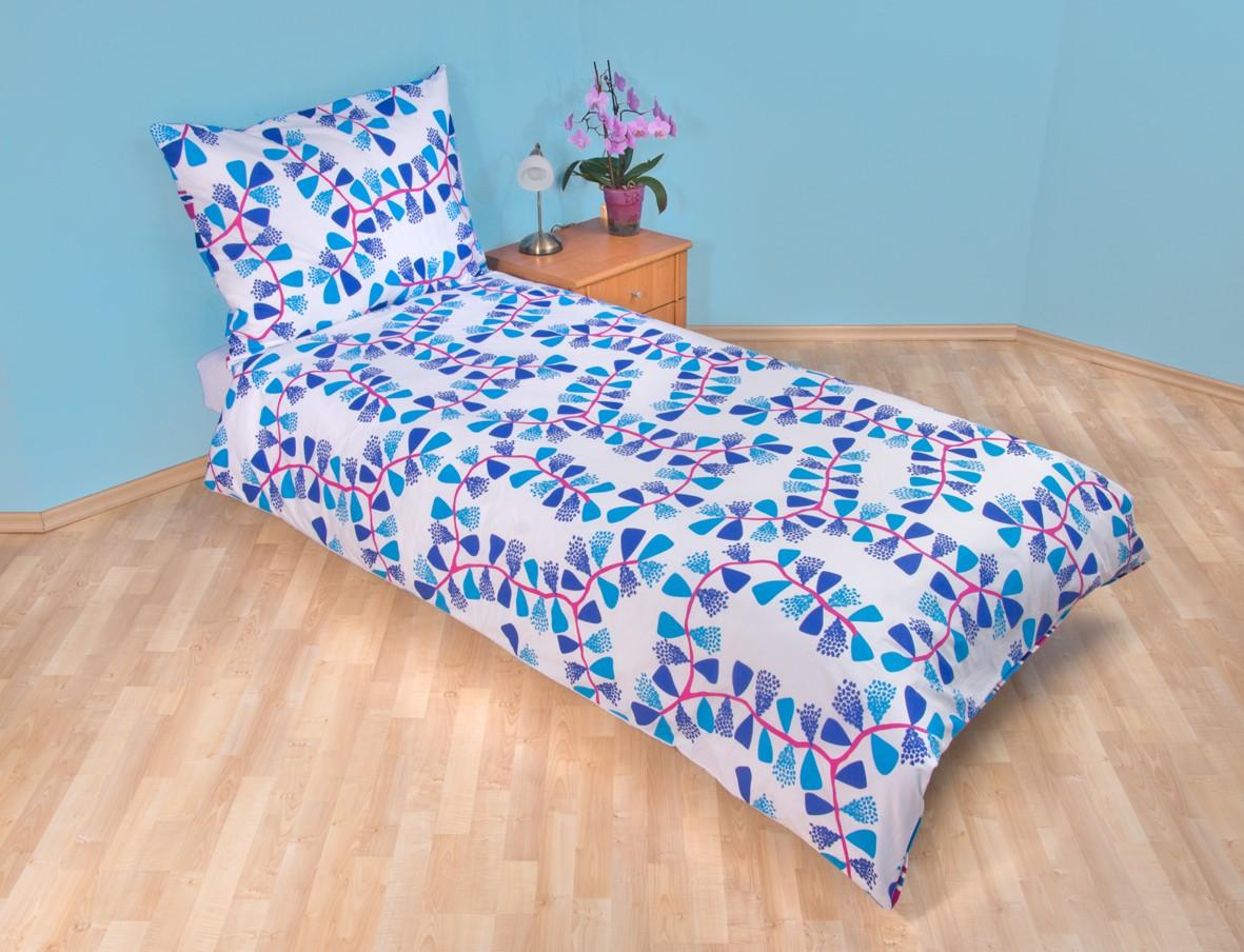 Povlečení bavlna 140x200, 70x90cm Mašle modré