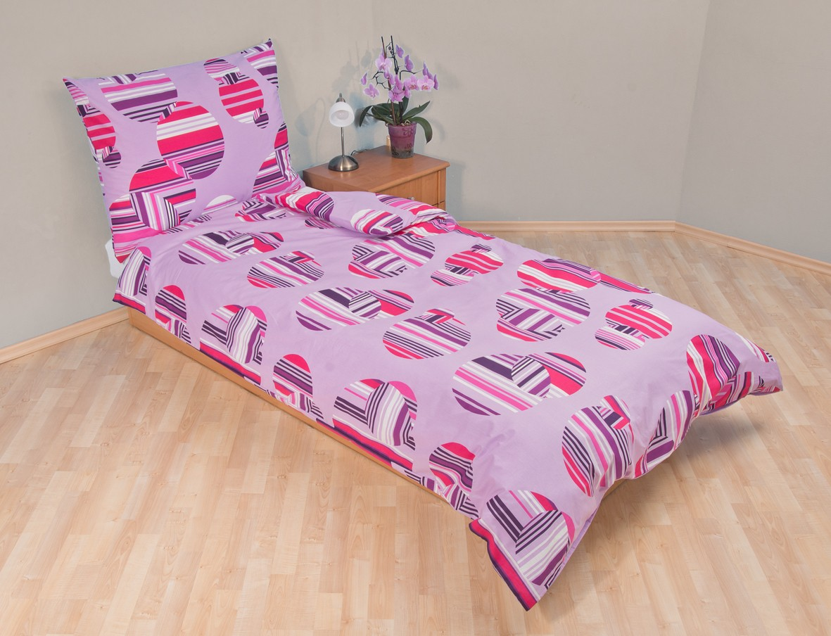 Povlečení bavlna 140x200, 70x90cm Šachovnice lila