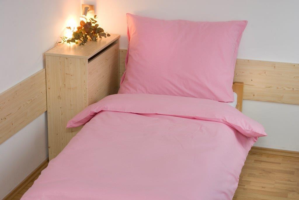Povlečení bavlna UNI 140x200, 70x90cm Růžová