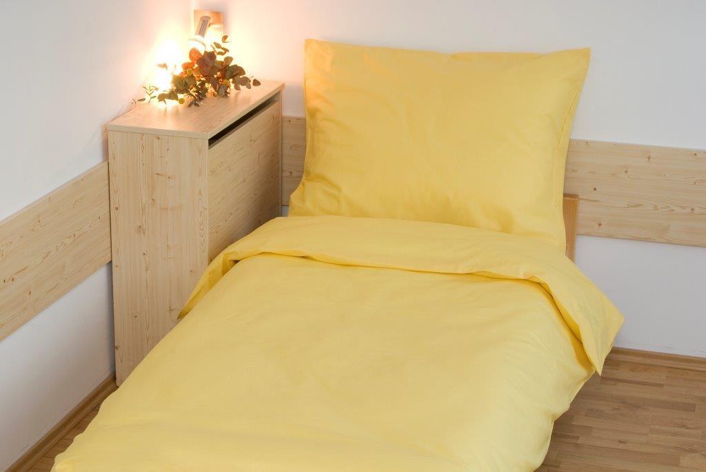 Prodloužené povlečení bavlna UNI 140x220, 70x90cm Žlutá