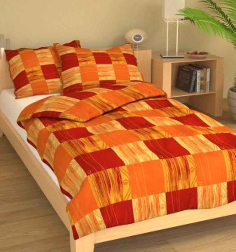Povlečení francouzské bavlna 240x200,70x90 Čtverečky oranžové