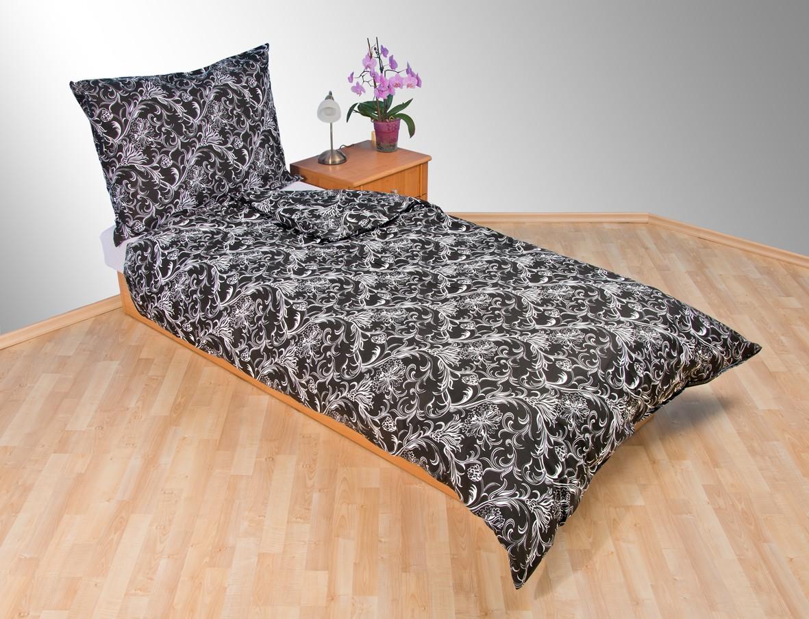 Prodloužené povlečení bavlna 140x220, 70x90cm Kašmír černý
