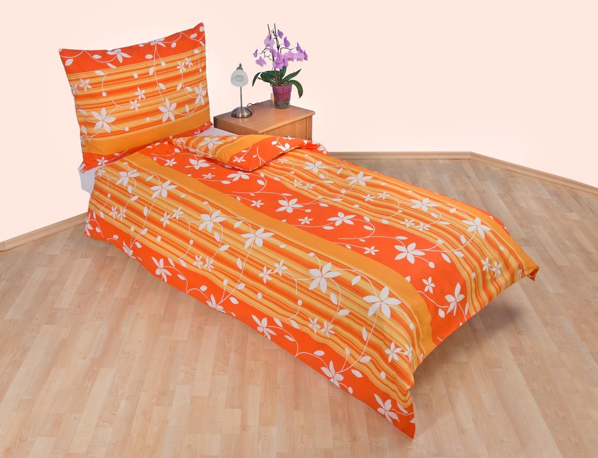 Povlečení francouzské bavlna 240x220,70x90 Listy oranžové