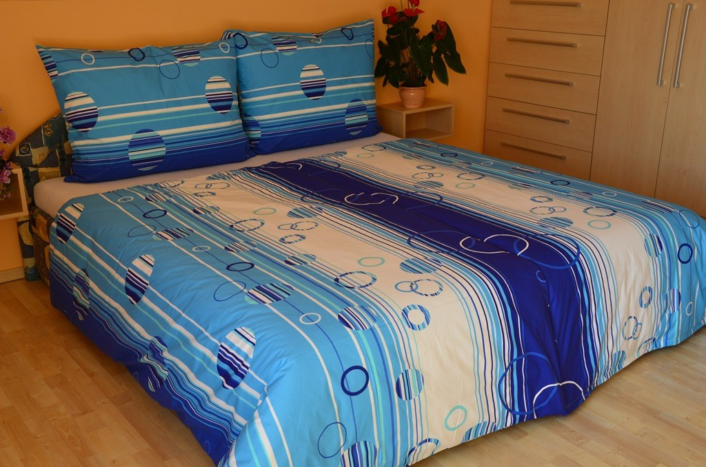 Povlečení francouzské bavlna 240x220,70x90 Kruhy modré
