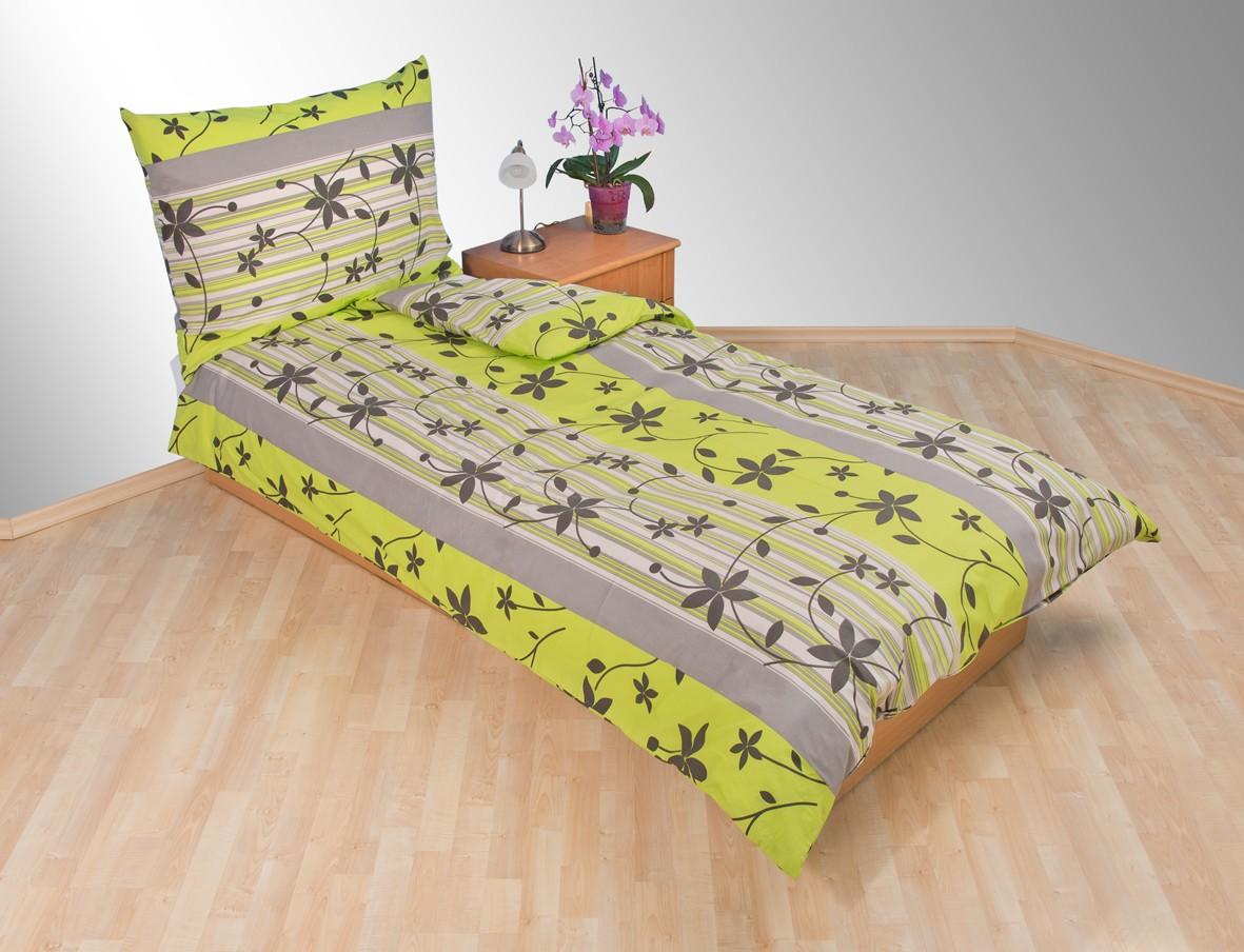 Přehoz přes postel jednolůžkový Listy zelenošedé