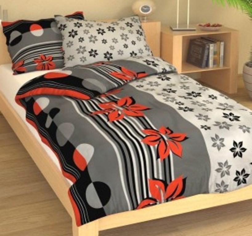 Přehoz přes postel jednolůžkový Kvítí šedočervené