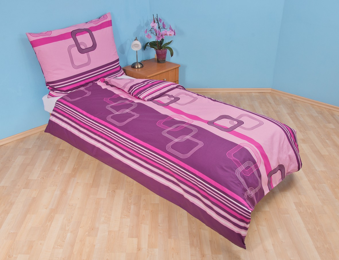Přehoz přes postel jednolůžkový Čtverce fialové
