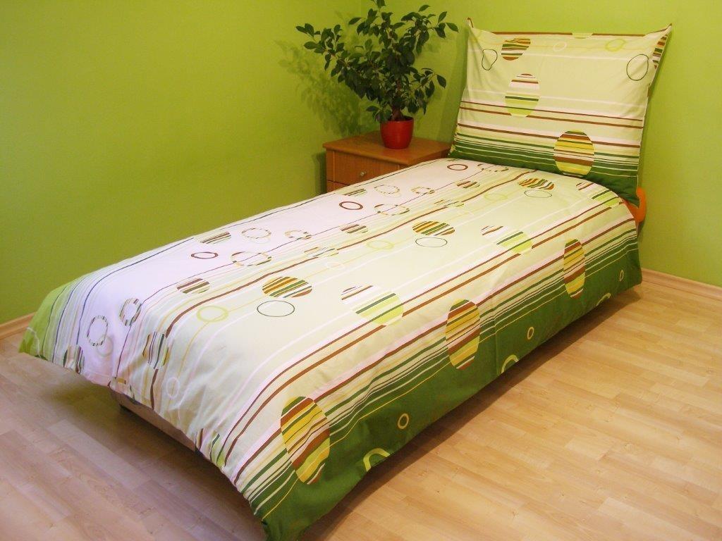 Přehoz přes postel dvojlůžkový Kruhy zelené
