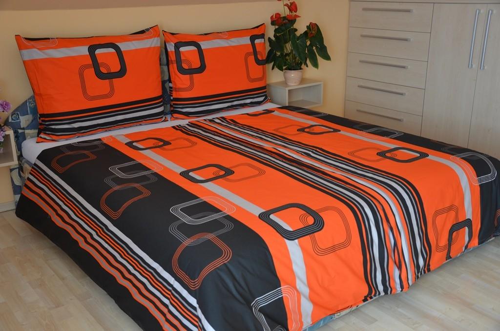 Přehoz přes postel dvojlůžkový Čtverce červenočerné