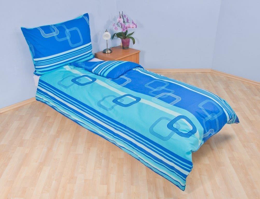 Prodloužené povlečení krep 140x220, 70x90cm Čtverce modré