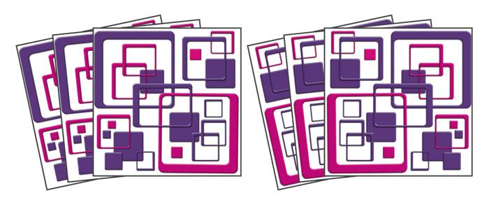 Dimex TI-020 Samolepicí dekorace na obklady Squares 15x15cm (6ks)