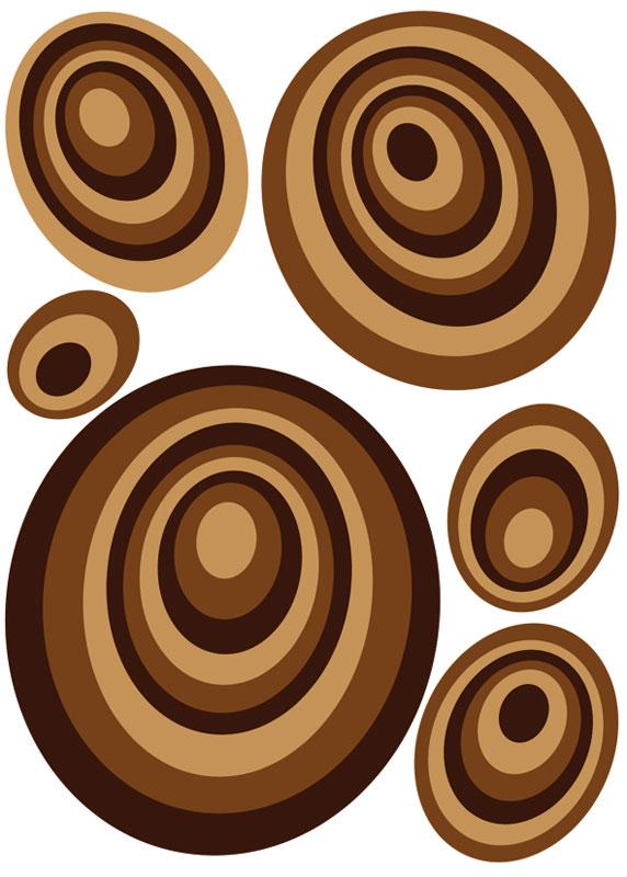 Dimex ST1 019 Samolepicí dekorace na zeď Brown Circles, 50x70 cm (hnědé kruhy)