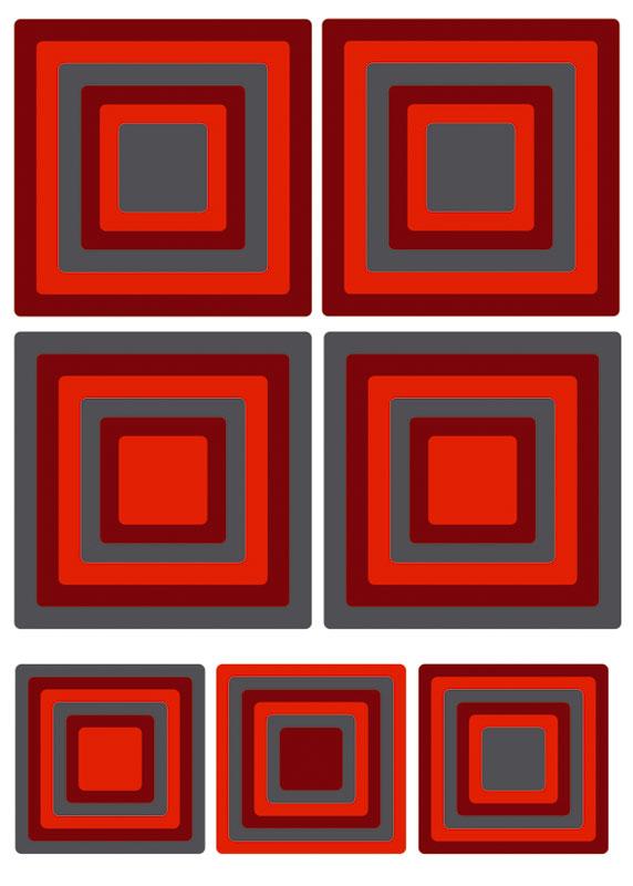 Dimex ST1 020 Samolepicí dekorace na zeď Red Squares, 50x70 cm (červené čtverce)