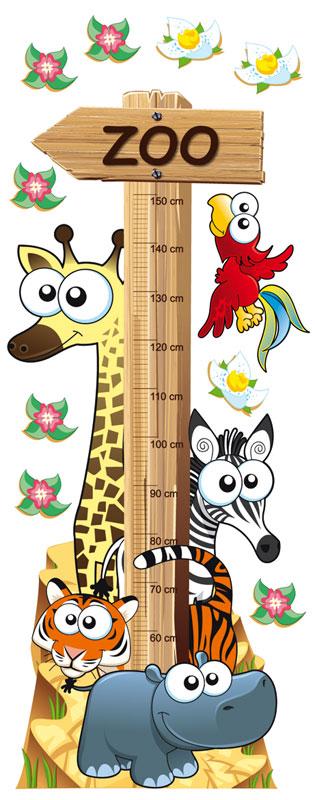 Dimex ST2 001 Samolepicí dekorace na zeď Animal Meter, 65x165 cm (zvířátka, metr na sledování růstu)