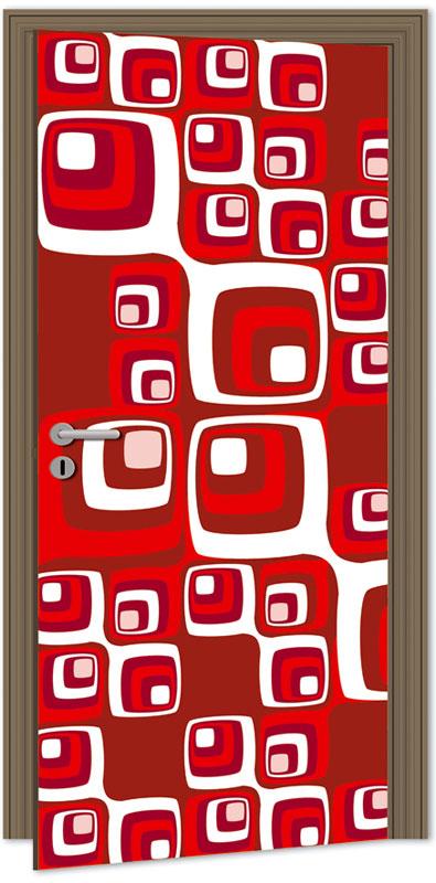 Dimex D-042 Samolepicí fototapeta na dveře RED SQUARES, velikost 95x210cm (RETRO, ČERVENÉ ČTVERCE)