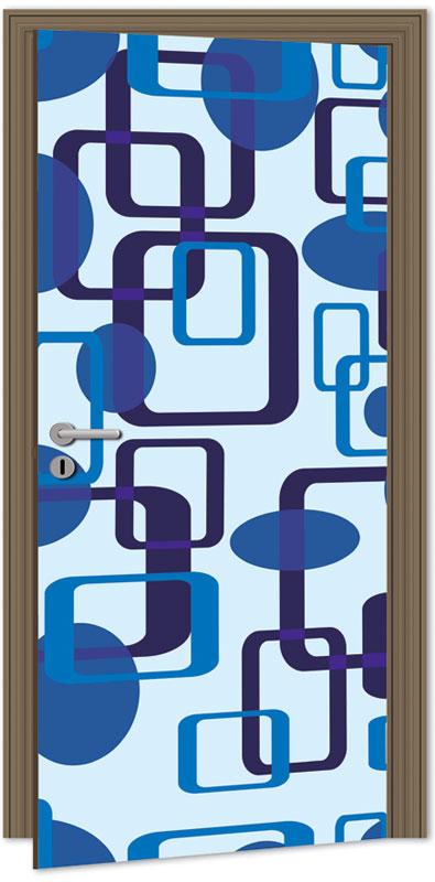 Dimex D-043 Samolepicí fototapeta na dveře BLUE SQUARES, velikost 95x210cm (RETRO, MODRÉ ČTVERCE)