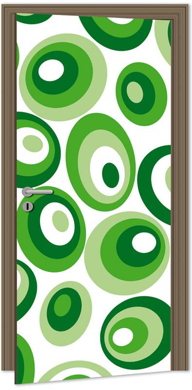 Dimex D-044 Samolepicí fototapeta na dveře GREEN OVALS, velikost 95x210cm (RETRO, ZELENÉ OVÁLY)