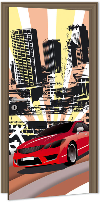 Dimex D-047 Samolepicí fototapeta na dveře RED CAR, velikost 95x210cm (ČERVENÉ AUTO)