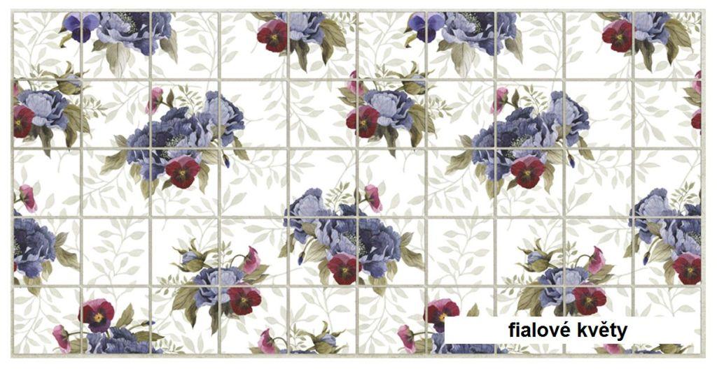 3D GRACE omyvatelný obkladový nástěnný panel PVC 484x964mm fialové květy